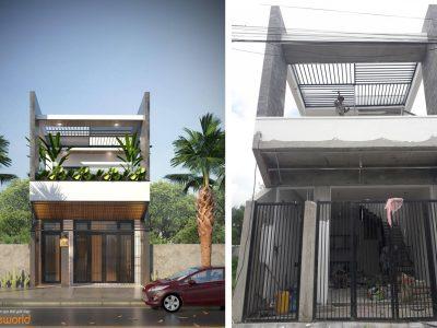 Thiết Kế Kiến Trúc nhà phố đẹp – 2 tầng – 950 triệu – Đà Nẵng
