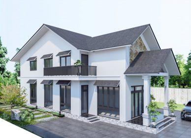 Mẫu nhà 2 tầng đẹp, đơn giản ở nông thôn.
