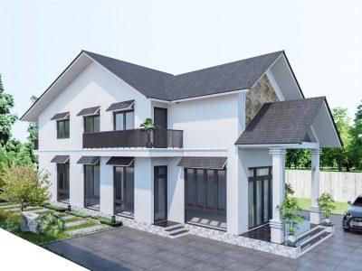 Thiết kế nhà Anh Thành – 2 tầng đẹp, đơn giản ở nông thôn – Đồng Nai